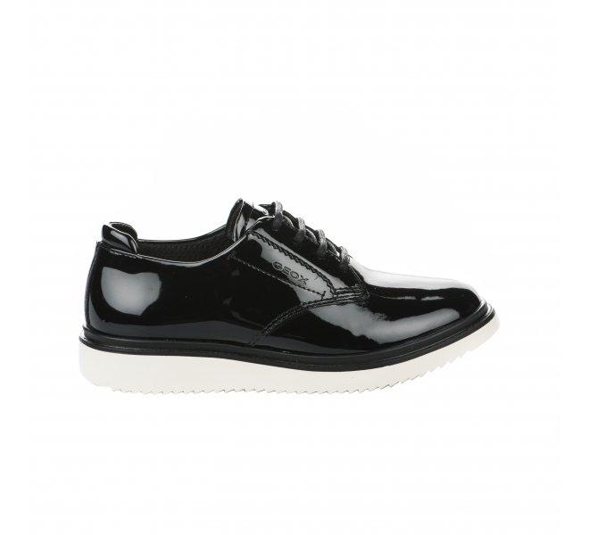 Geox Fille Verni Chaussures A Lacets Noir OkZiuPX