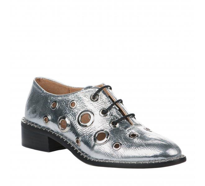 Chaussures à lacets fille - ALPE - Gris argent