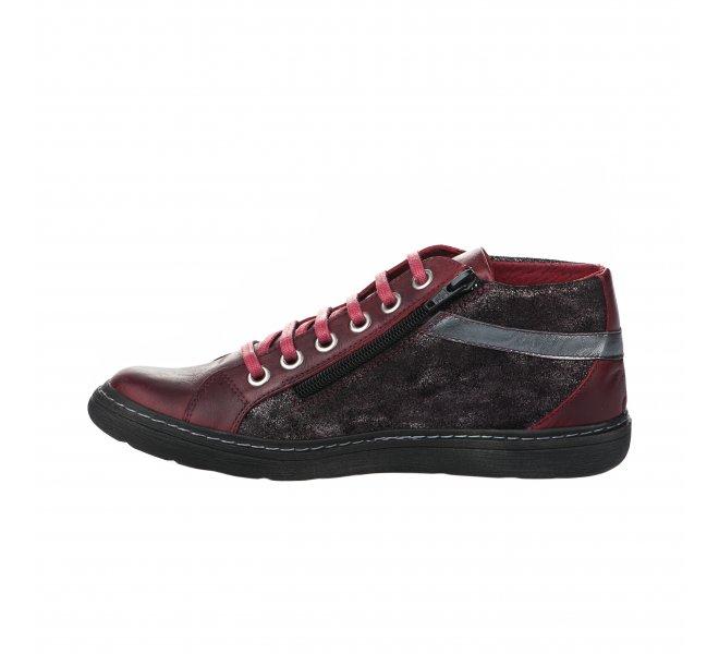 Baskets mode fille - CHACAL - Rouge bordeaux