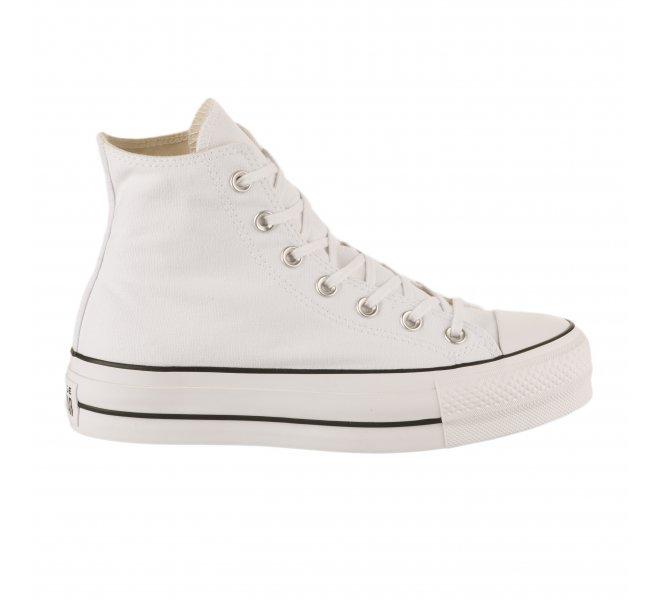 Baskets Converse blanc fille CTAS LIFT HI WHITE BLACK WHITE