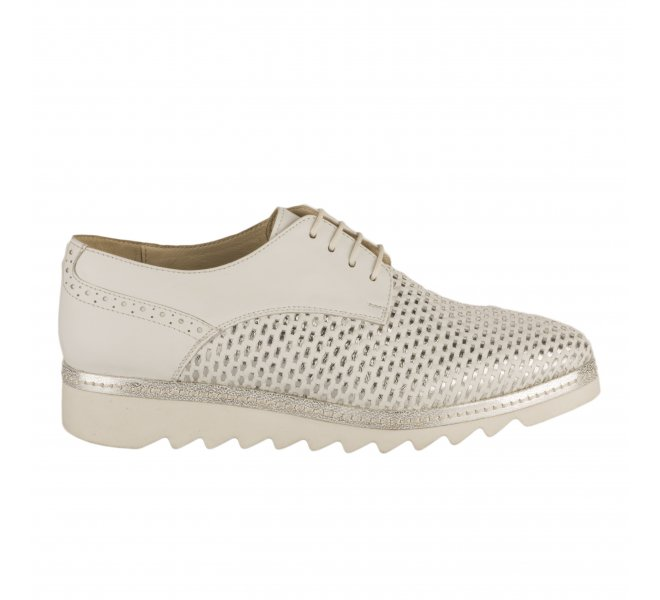 Chaussures à lacets fille - MIGLIO - Blanc argent