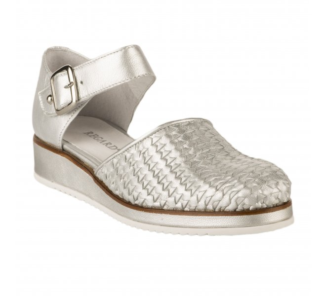 Chaussures à lacets fille - REGARD - Gris argent