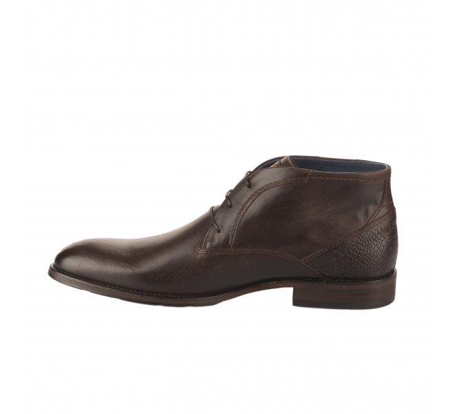Chaussures à lacets garçon - FIRST COLLECTIVE - Marron fonce