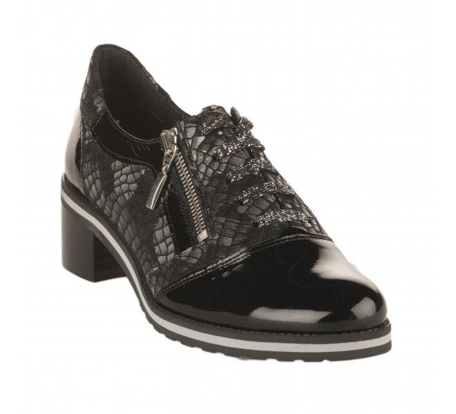 Chaussures à lacets fille - UN TOUR EN VILLE - Noir verni