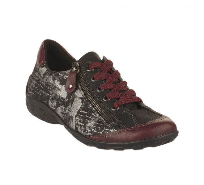 Chaussures à lacets fille - REMONTE - Rouge bordeaux