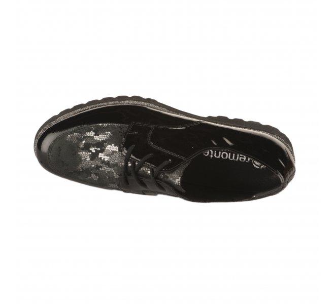 Chaussures à lacets fille - REMONTE - Noir verni