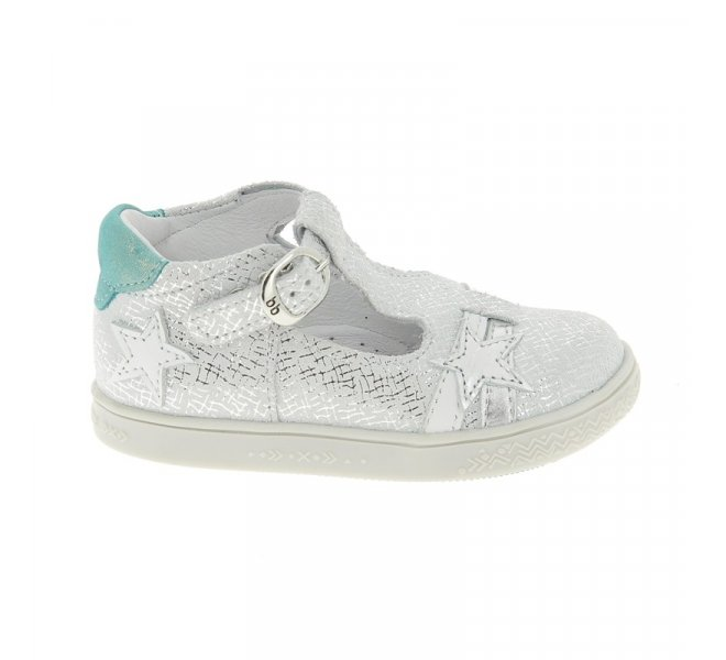 Chaussures Babybotte blanc fille - SATURNE Daim Croute BLANC - CM0436